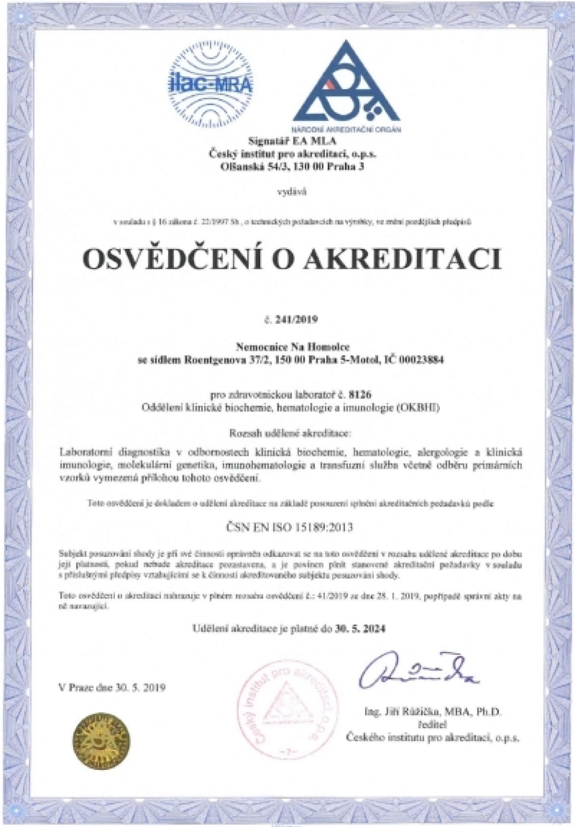 Oddělení klinické biochemie, hematologie a imunologie (OKBHI)
